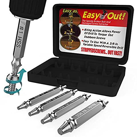 Damaged Screw Extractor and Remove Set by Aisxle,Easily Remove Stripped or Damaged Screws. Made From H.S.S. 4341#, the Hardness Is 62-63hrc,Set of 4 Stripped Screw (Micro Tool Box)