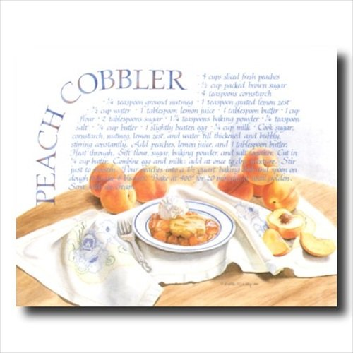 Peach Cobbler Pie Home Kitchen Recipe Cafe Wall Picture 16x20 Art Print