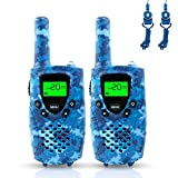 Fairwin Walkie Talkies for Kids, Up to 4KM Range 0.5W 8 Channels 446MHZ Two Way Radios for Children with Flashlight and Backlit LCD Screen,Camo Blue,Great Toy for 3-12 Year Old Boys and Girls
