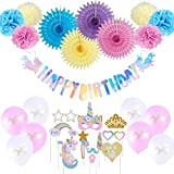 Unicorn Birthday Decorations Party Supplies Happy Birthday Banner Unicorn Balloon + Unicorn Photo Booth Props for Girl's Birthday Decor - 20pcs