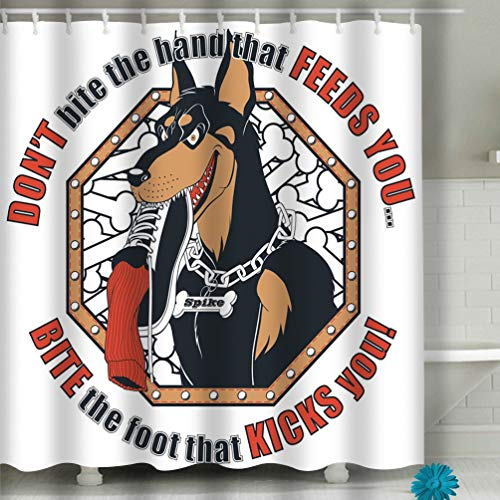 Labbs Shower Curtain Doberman t Shirt Design 60 x 72 Inches