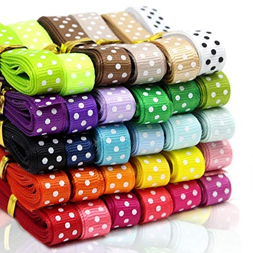 Cocoboo 60 Yards 3/8 Dot Grosgrain Ribbons for DIY Bowknot Hair Ornament Gift Packaging