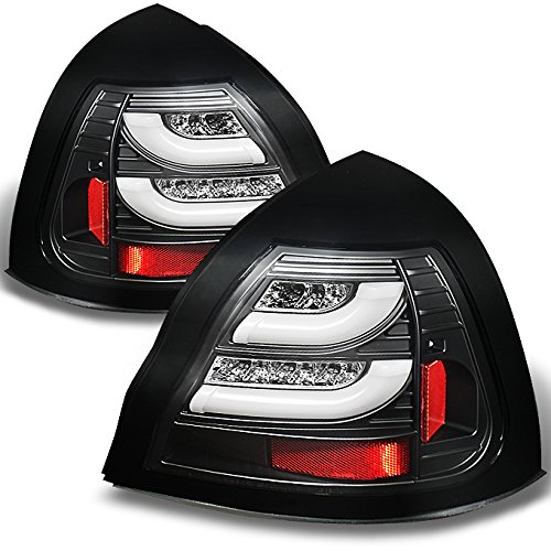 For 04-08 Pontiac Grand Prix Black Bezel Rear LED Tail Lights Brake Lamps Replacement Pair Left + Right