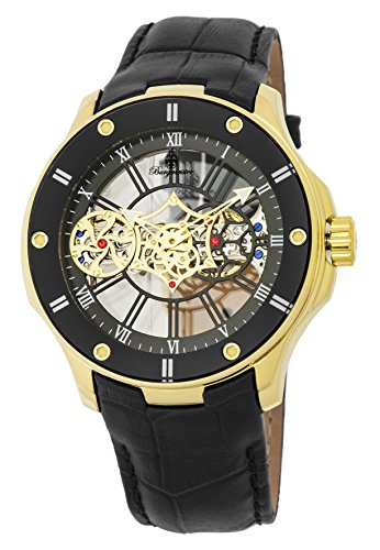 Burgmeister Men's Mechanical Hand Wind Stainless Steel and Leather Casual Watch, Color:Black (Model: BM236-202)