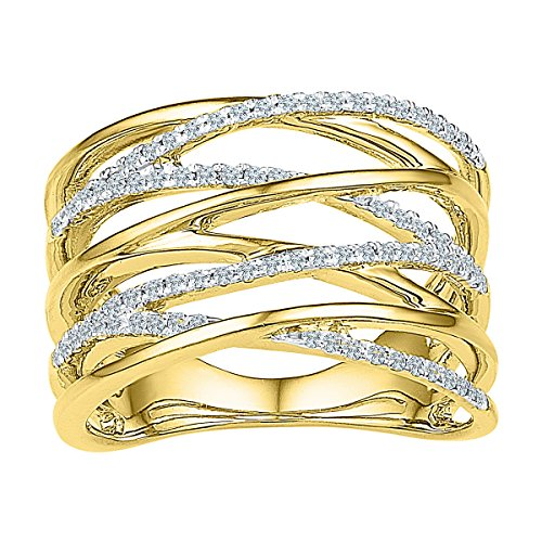Pave Diamond Crossover (10kt Yellow Gold Womens Round Diamond Crossover Open Strand Band 1/4 Cttw (I1-I2 clarity; H-I color))