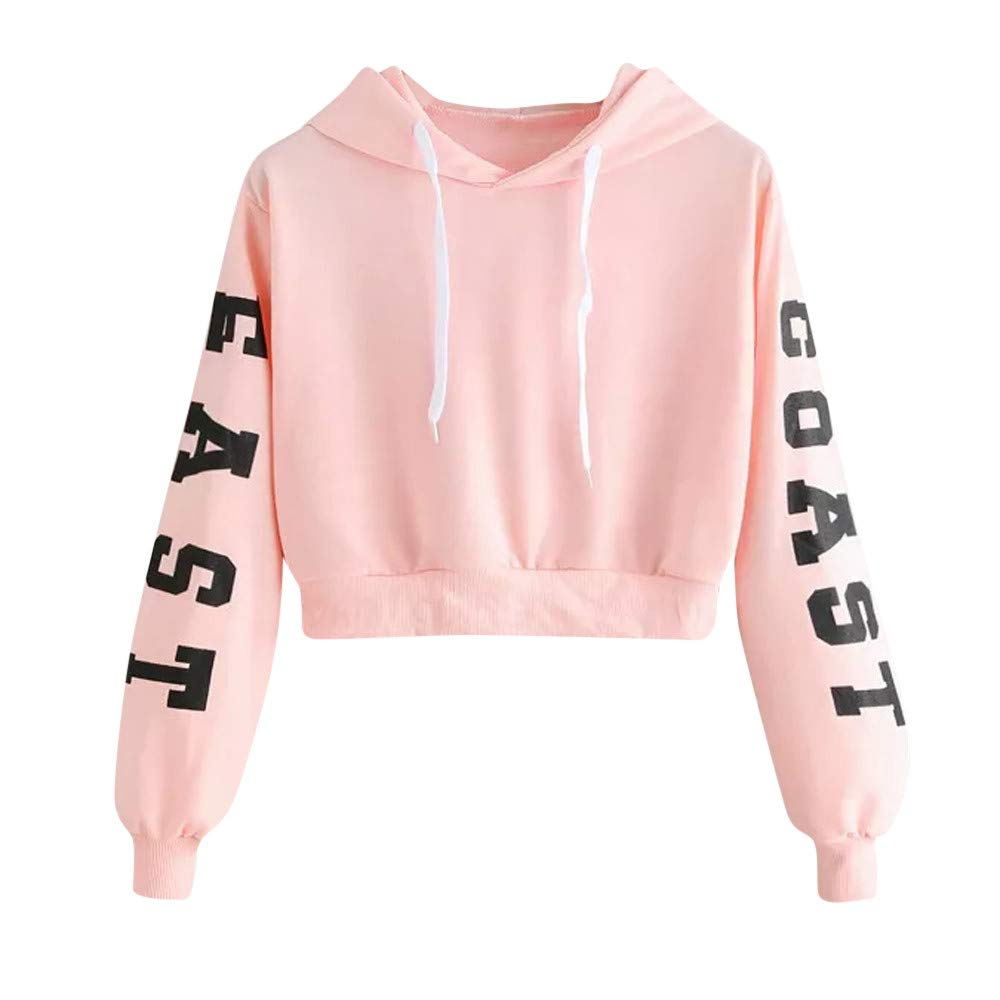 Hengshikeji Womens Casual Long Sleeve Shirt O-Neck Ruffles Hooded Sweatshirts Jumper Loose Crop Tops Blouses Tunic Pullover