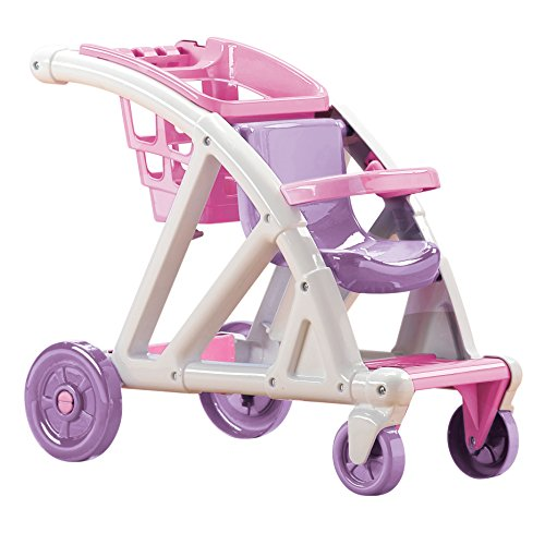 American Plastic Toys Shop With Me Doll Stroller & Basket, Pink/White/Purple