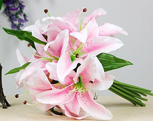1 bunch /lot Beautiful Silk Artificial plastic Lily Bouquet Stargazer Flower Bouquet (8 Flower Heads) decorative Home wedding bouquet artificial flowers (pink)