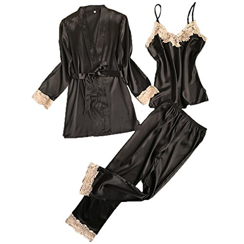 JIANGTAOLANG Three Pieces Satin Lace Padded Pajamas Sets with Long Sleeve Bathrobe Sexy V-Neck Womens Nightwear H L (Zebra Bathrobes For Women)