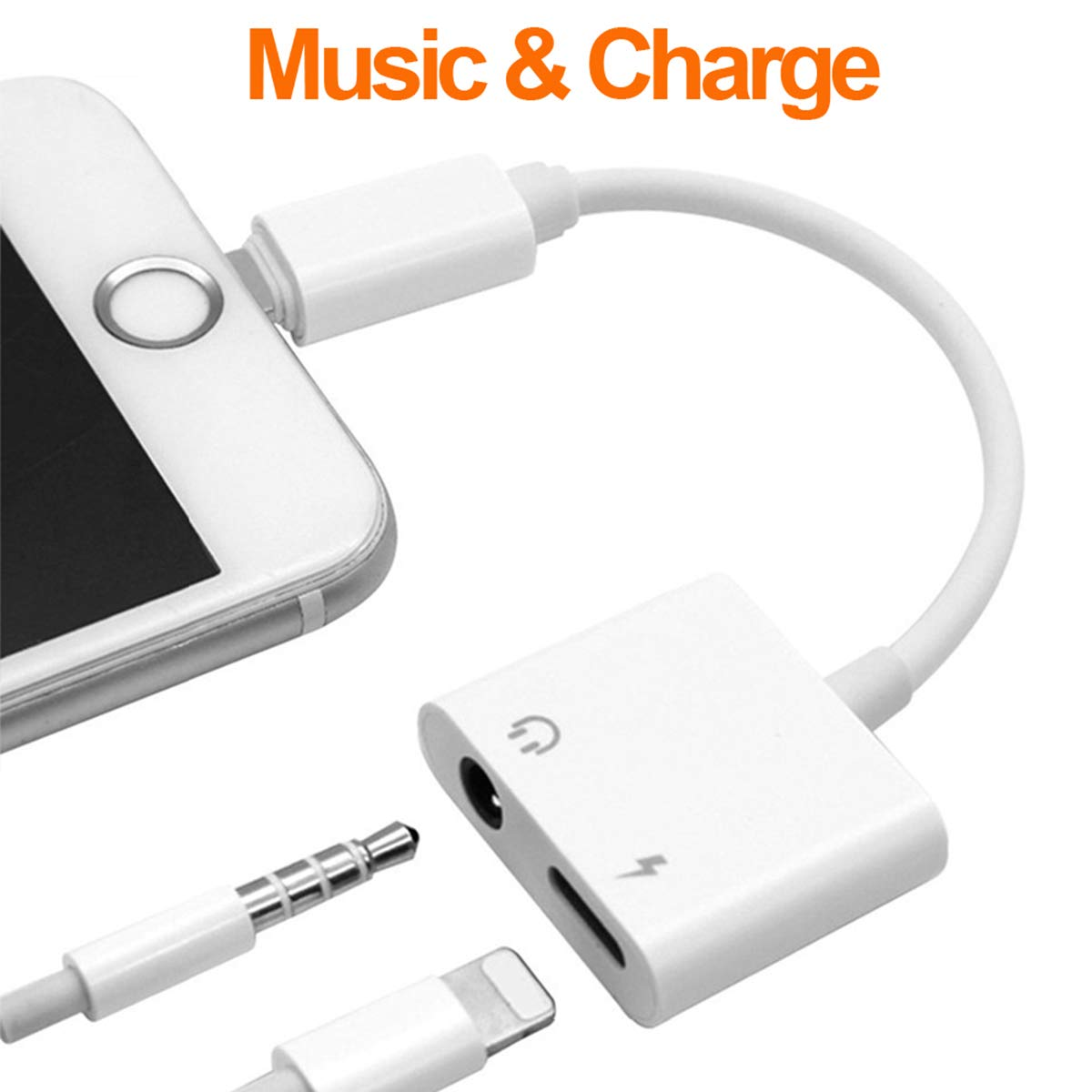 Headphone Adapter for iPhone Adapter 3.5mm Jack Charging Audio 2 in1 Jack Audio to 3.5mm Dongle Aux Splitter Converter Adaptor Cable Compatible with iPhone Xs Max XR X 8 7 Plus for iOS 10.3 or Higher BENEWY