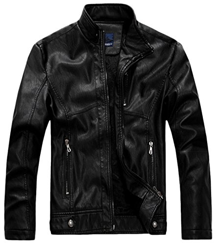 chouyatou Men's Vintage Stand Collar Pu Leather Jacket (Small, RZQM888-Black)