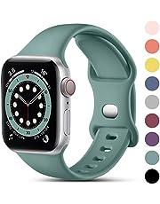 CeMiKa Bandje Compatibel met Apple Watch Bandje 38mm 42mm 40mm 44mm, Siliconen Sportpols Bandjes Vervangende Riem Compatibel met iWatch SE Series 6 5 4 3 2 1, 38mm/40mm-S/M, Dennengroen