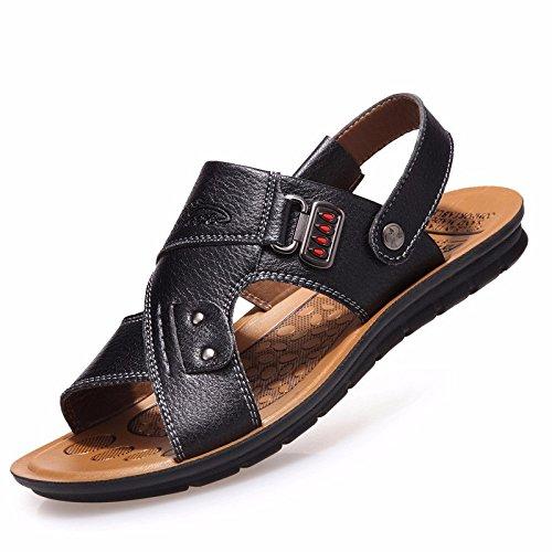 vera pelle sandali Uomini Il nuovo Uomini Spiaggia scarpa estate Tempo libero traspirante gioventù sandali Antiscivolo ,nero,US=7.5,UK=7,EU=40 2/3,CN=41