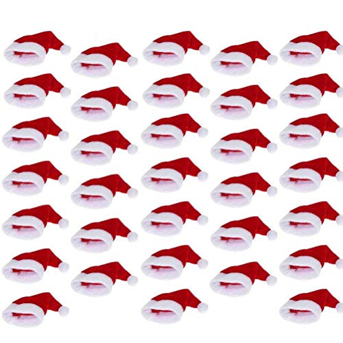 Lwestine 48 Pieces Mini Santa Claus Hat for Lollipop Wine ()
