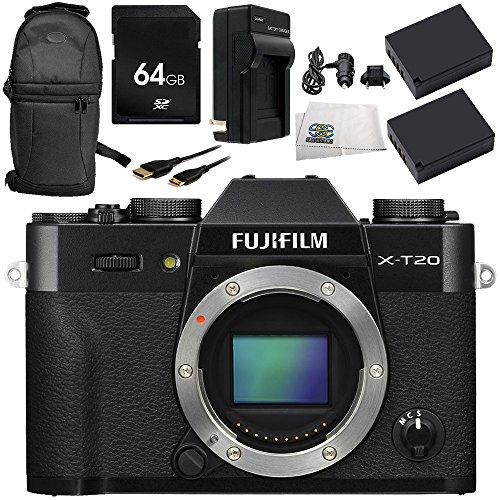 Fujifilm X-T20 Mirrorless Digital Camera (Body Only, Black) 8PC Accessory Bundle – Includes 64GB SD Memory Card + 2x Replacement Batteries + - Lens Sr 91