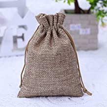 50PCS Burlap Favor Gift Bags with Drawstring and Cotton Lining (9X12CM, #01 Natural)