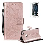 Funyye Strap Leather Cover for Huawei P10 Lite,Rose Gold Creative Pattern Design Magnetic Flip Folio Soft Silicone PU Leather Protective Case for Huawei P10 Lite,Stylish Multi functional Folder Wallet with Stand Credit Card Holder Slots Cover for Huawei P10 Lite + 1 x Free Screen Protector