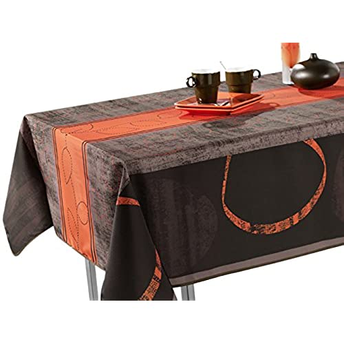 60 X 80 Inch Rectangular Tablecloth Grey And Brown Modern Orange, Stain  Resistant, Washable, Liquid Spills Bead Up, Seats 6 To 8 People (Other Size  ...
