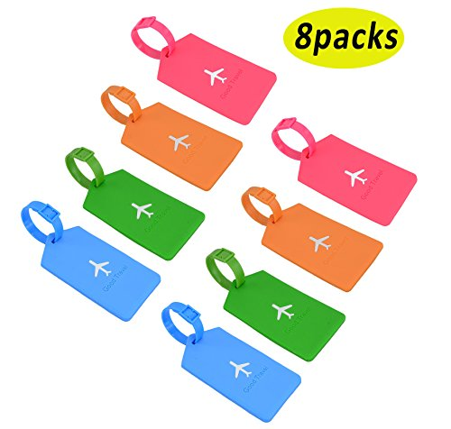 8pcs Luggage Label travel accessories Suitcase Plastic Luggage Tags ID Address Holder Identifier Label (8colors)