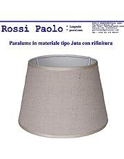 Paralume coprilampada classico per lampada in tessuto tipo Juta con rifinitura - produzione propria - made in Italy (Tronco cono, cm 30)