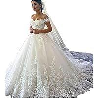 Fanciest Women's Lace Wedding Dresses Bride 2017 Ball Gowns White