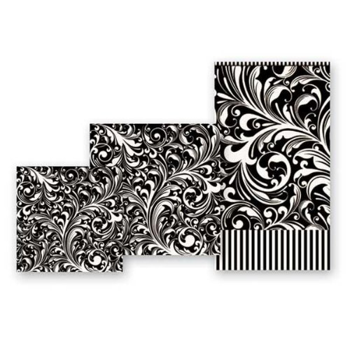 Michel Design Works 15-Count 3-Ply Paper Hostess Napkins, Black Florentine