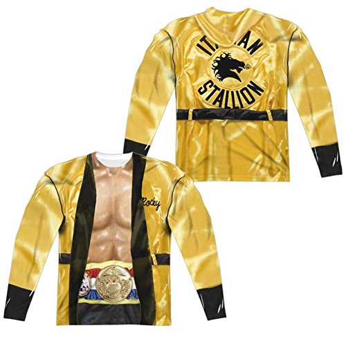 Long Sleeve: Rocky- Yellow Victory Robe Costume Tee (Front/Back) Longsleeve Shirt Size -