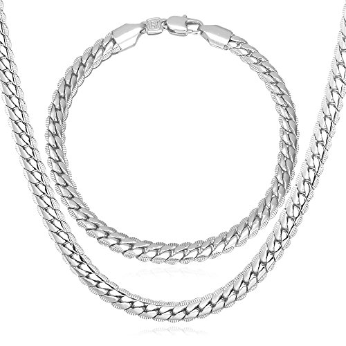 U7 Snake Chain Men Punk Hip-hop Jewelry 6MM Wide Platinum Plated Necklace Bracelet Set (30