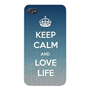 "Apple Iphone Custom Case 5 / 5s White Plastic Snap on - ""Keep Calm and Love Life\"" Grainy Textured Style Background"