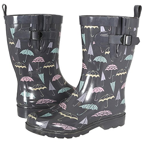 Capelli New York Ladies Umbrella Printed Mid- Calf Rain Boot Grey Combo 8 (Umbrella Rain Boots compare prices)