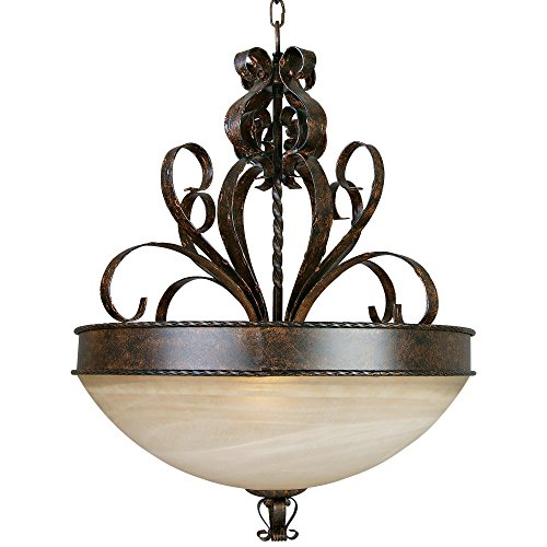 Yosemite Home Decor 93952-4FGS McKensi Four Light Foyer Pendant with Tea Stained Glass in Bronze Patina Finish, 25.25