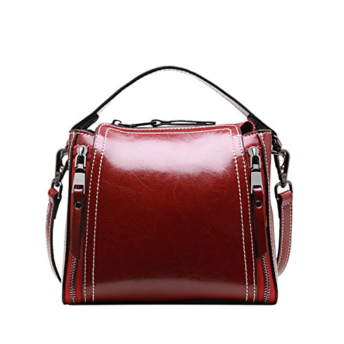 Q0906 Bag Pockets Multiple Red Handbags Hard Dissa Leather Women Shoulder HBnqFdFp
