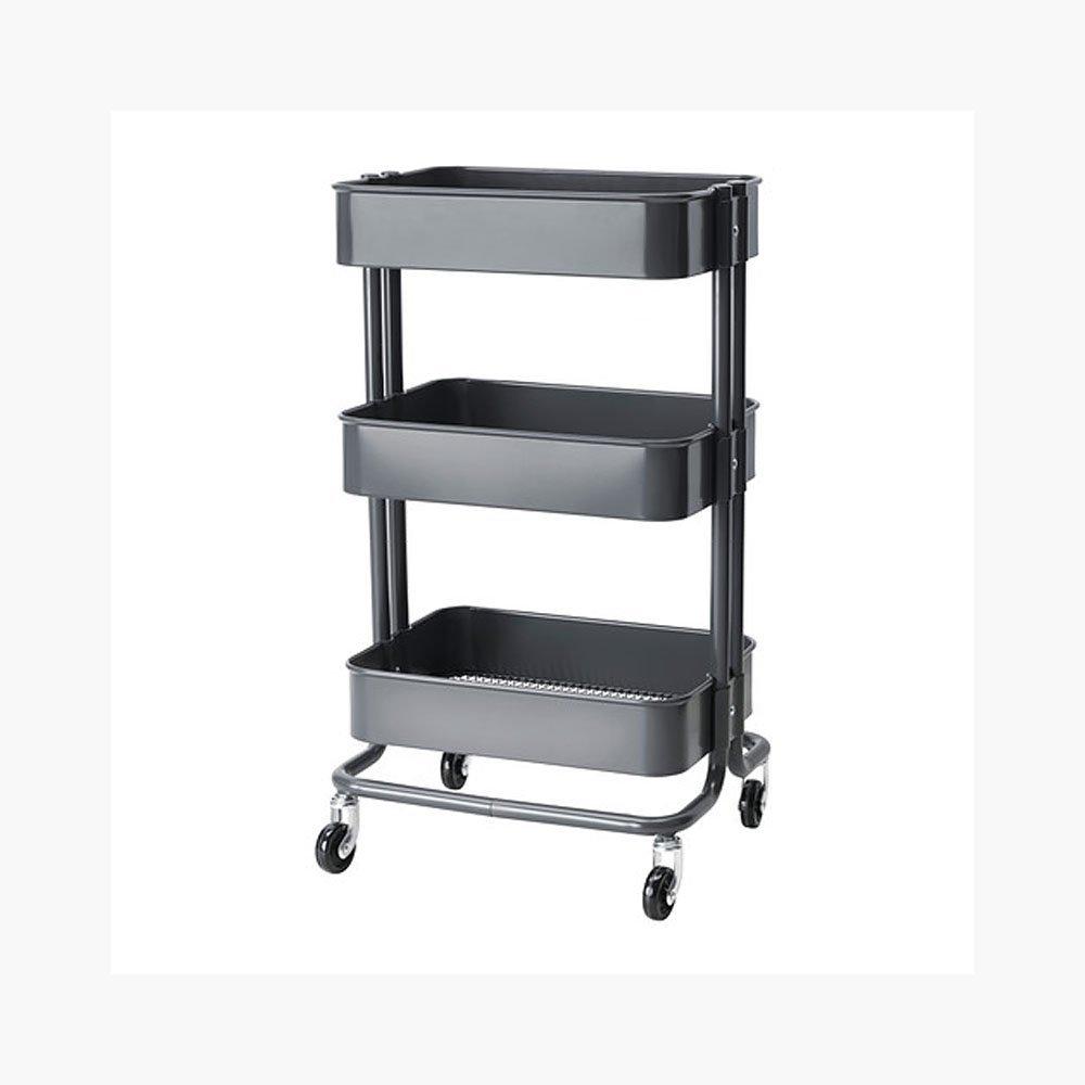 Rolling Organization Cart on Wheels Is Metal with 3 Deep Bins, Center Bin Is Adjustable Color Grey Gray