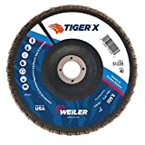 Weiler 51229 Tiger X Flap Disc, Ceramic and Zirconia Alumina, Flat, Phenolic Backing, 40 Grit, 7'', 7/8'' Arbor Hole (Pack of 10)