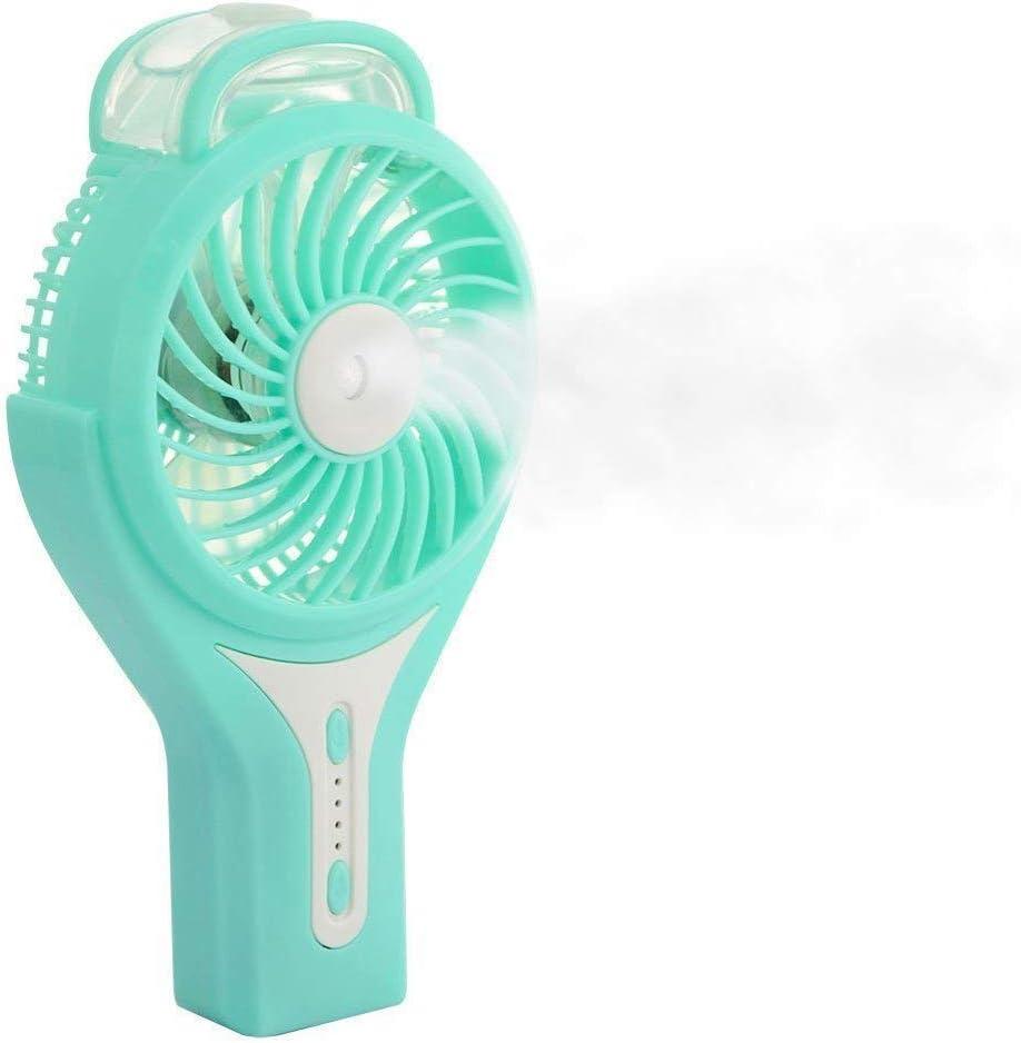 INTSUN Mini Ventilador de Mano con Agua, USB Ventilador Portátil/Recargable con spray de refrigeración,humidificador de vapor Silencioso &Personal (5 colores, 5 in, 2200mA )