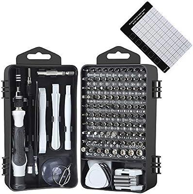 E·Durable - Juego de destornilladores de precisión, kit de herramientas electrónico 122 en 1 con estuche para reloj de gafas, iPhone, Nintendo Switch, cámara, kit de reparación de computadora: Amazon.es: Bricolaje y