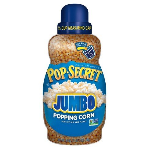 - Pop Secret Big and Fluffy Jumbo Popping Corn (30 oz Jar) Free 1/2 Cup Measuring Cup