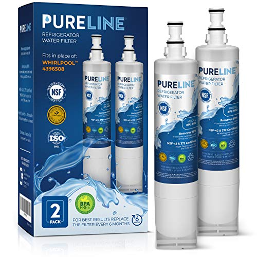 PURELINE 4396508 and EveryDrop Filter 5 EDR5RXD1 Refrigerator Water Filter Replacement. Also Compatible with EveryDrop Filter 5, Kenmore 9010, Kitchenaid, PUR W10186668. (2 Pack)
