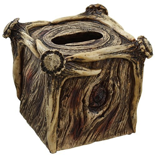 Rustic Deer Antler / Tree Bark Square Tissue Box Cover (Deer Antler Bath)