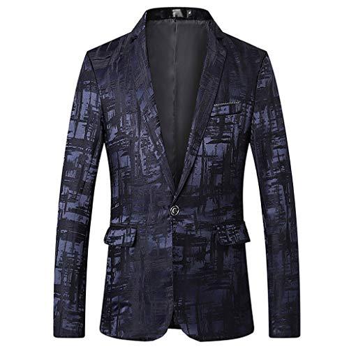 Fashion Suit Jacket for Men Stylish Print Suit Blazer Business Wedding Party Outwear Jacket Tops Blouse Blue ()