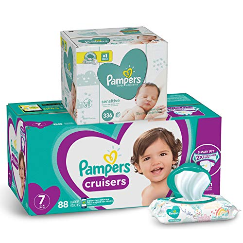 Pampers Cruisers Disposable Diapers Size 7, 88 Count and Baby Wipes Sensitive  Pop-Top Packs, 336 Count
