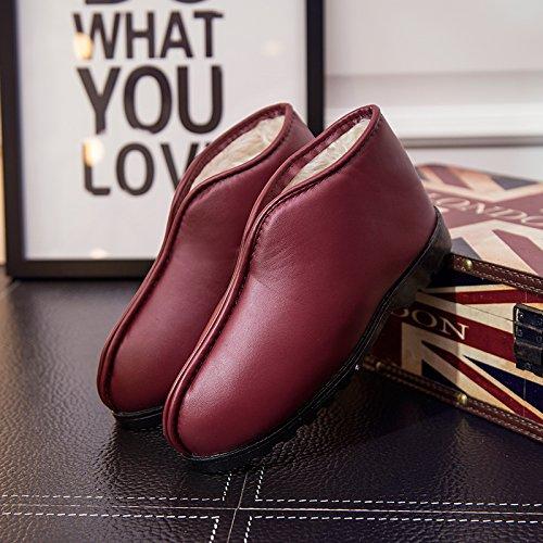 Y-Hui Vecchio Uomo Inverno caldo scarpe per uomini e donne paio di pantofole di cotone impermeabile di slittamento stivali in pelle spessa scarpe con suole,44 (Fit per 43 piedi),Claret