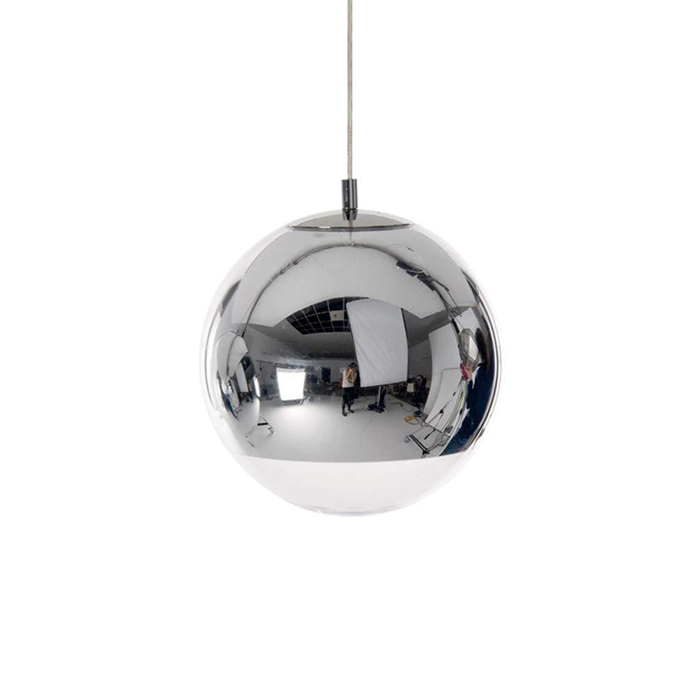 RREN LED Pendelleuchte, Kreative Silber Glas Kugel Pendelleuchte Restaurant Wohnzimmer Bar Personalisierte Kronleuchter Einfache Moderne Glaskugel Deckenleuchte (Größe : 30CM)