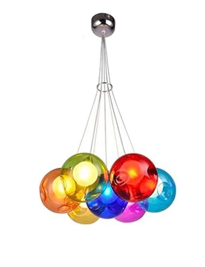 Cozyle - Lámpara Colgante de Cristal de Burbujas de Colores creativos, Vidrio, 7 Heads