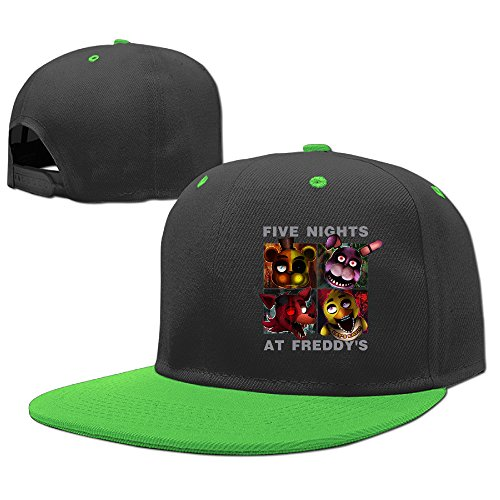 AAWODE Kid's Five Nights At Freddy's Game Plain Adjustable Snapback Hats Caps KellyGreen