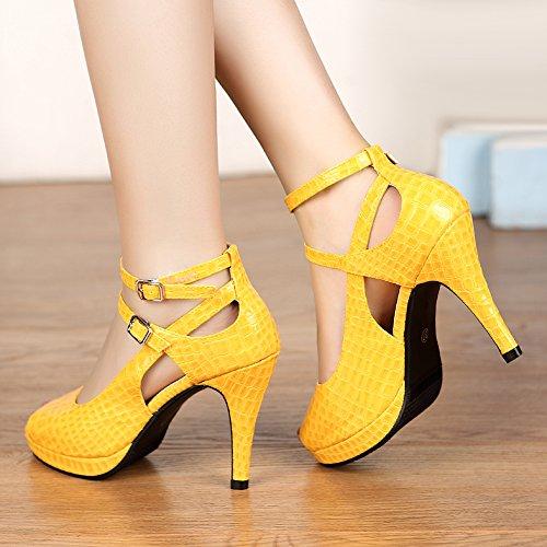 GetmorebeautyUpdate - Zapatos con tacón mujer amarillo