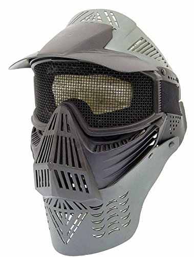 Paintball/Airsoft Adjustable Full Face Tactical Safety Mask (Black) with Metal Mesh Wire Eye Protection; Protecting Chin/Ears; Top Visor for Shade; Good for CS Game, Shooting, Hunting, Cycling