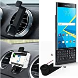 Car Smartphone Holder for Blackberry Priv, black. Car grille mount / air vent mount, secure hold | Simple, functional, safe, comfortable, universal - K-S-Trade (TM)