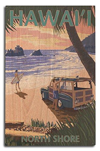 Lantern Press North Shore, Hawai'i - Woody on Beach (10x15 Wood Wall Sign, Wall Decor Ready to Hang) ()