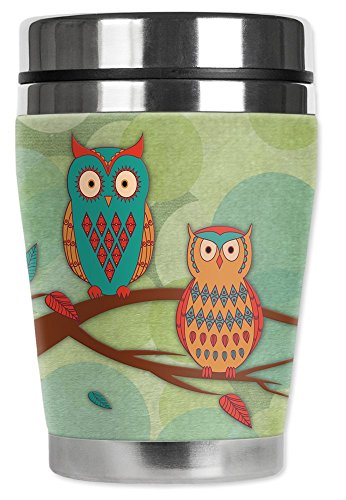Mugzie brand 10-Ounce Travel Mug with Insulated Wetsuit Cover - Whimsical Owls